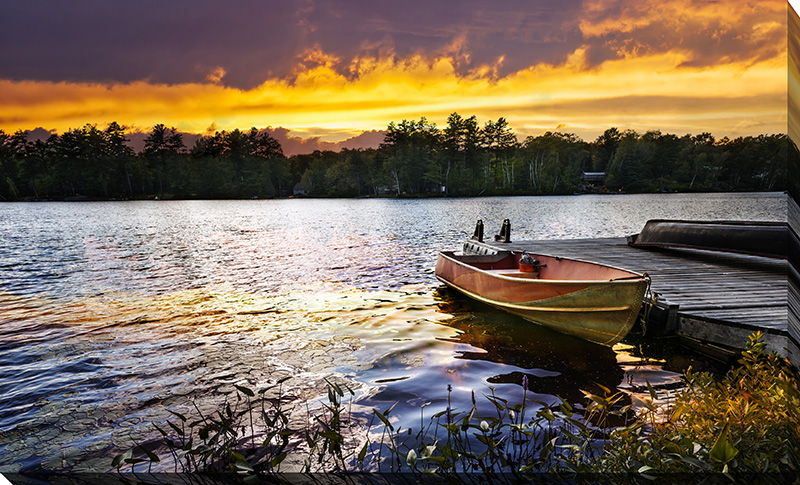 Boat On Lake At Sunset I