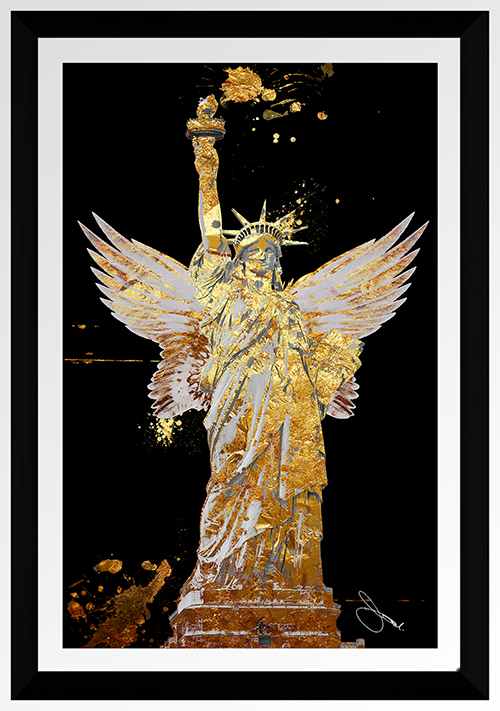 BY Jodi Wings Of Liberty Gold Framed Plexiglass Wall Art
