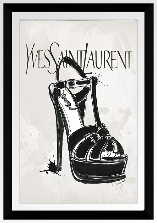 "BY Jodi ""Ysl In Black"" Framed Plexiglass Wall Art"