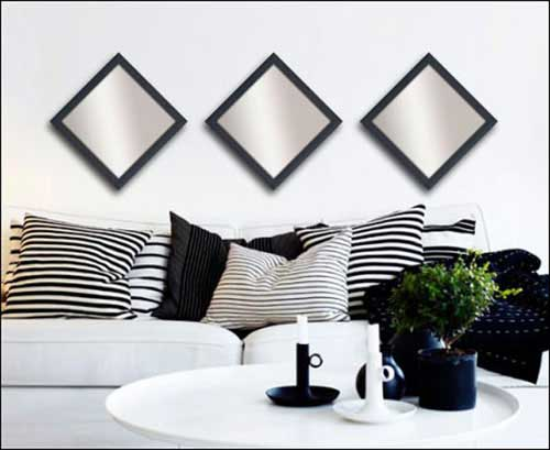 3 Decorative Mirrors in Black Frame
