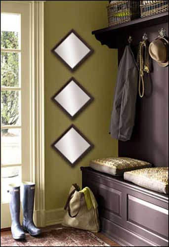 3 Decorative Mirrors in Brown Frame