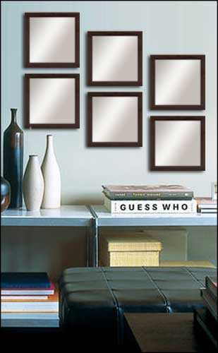 6 Decorative Mirrors in Brown Frame