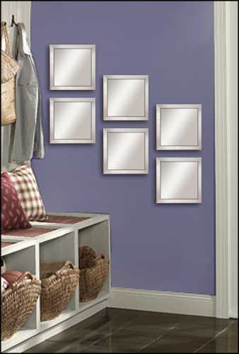 6 Decorative Mirrors in Silver Frame