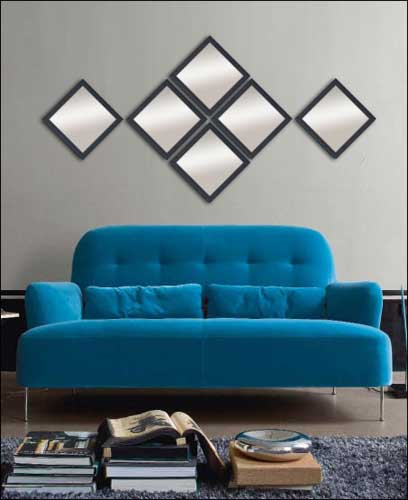 6 Decorative Mirrors in Black Frame