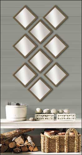 9 Decorative Mirrors in Brushed Bronze Frame