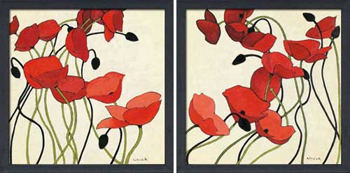 Poppies & Cream I & II